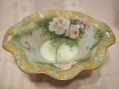 Stunning Antique Japanese Signed Nippon High Quality Footed Rose Bowl