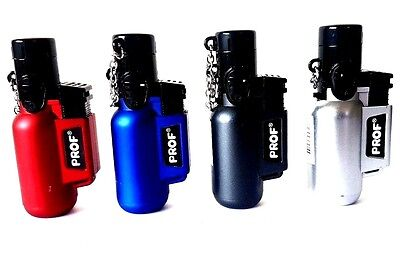 Windproof Jet Lighters - Prof Adjustable Brushed Metal with Lid - Gas Refillable