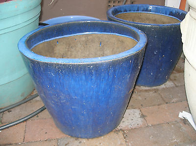 2 x blue glazed cycle shape terracotta garden pots