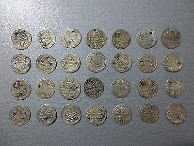 LOT of 28pcs QUALITY SILVER OTTOMAN TURKISH TURKEY ISLAMIC AKCE COINS RARE
