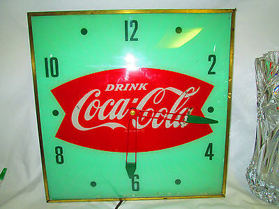 "Vintage 1950's Coca Cola Fishtail Clock Nice Working Condition 15"" Square Green"