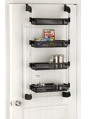 Organize It All Over The Door 4-Basket Unit with Hooks (17714) Black