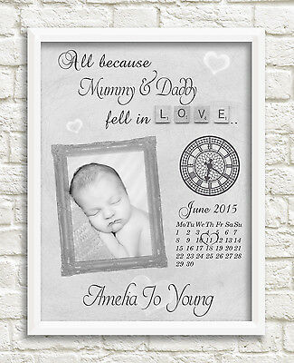 New Baby Personalised Print Birth Gift Nursery Christening Photo Picture