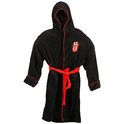 Rolling Stones Men's Tongue Bath Robe One Size Black