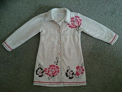 Monsoon Girls Jacket Coat floral embroidery 4-6 4-5 5-6