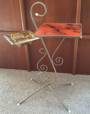 Vtg Mid Century Smokers Table Stand Orange Top & Amber Glass Ashtray Retro Cool