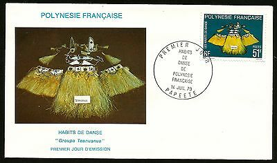 Exotic Dance Costume Fr Tahiti Polynesia First Day Cover Postmarked At Papeete!