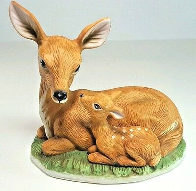 Homco Deer Porcelain Figurine Doe and Fawn 1441 Collectible