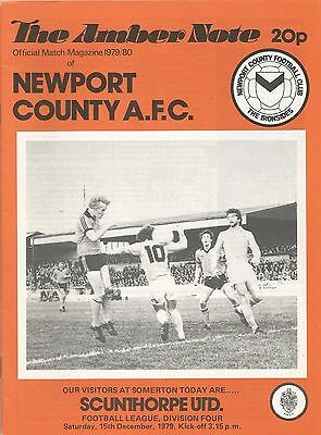 Newport County v Scunthorpe United, 15th December 1979, Division 4