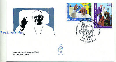 FDC JOURNEYS POPE FRANCIS Set VATICAN 2014 First Day Cover VIAGGI PAPA FRANCESCO