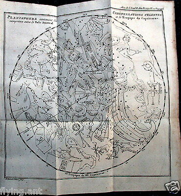 1752 PLANISPHERE South Pole to Tropic of Capricorn, Astronomy, Nicolas Lacaille