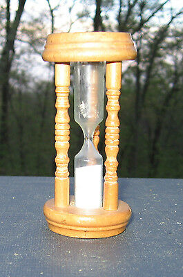 MAC Egg Kitchen Timer 3-Minute Hourglass Spindle Wooden Vintage