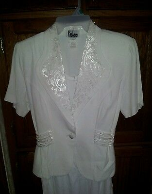VTG RJ&Co. Long White Dress & Jacket Suit, Size 6 Excellent  Made in USA