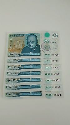 7x RARE A £5 five Pound Note, New UNC PLASTIC/POLYMER - MIXTURE OF RARE NOTES