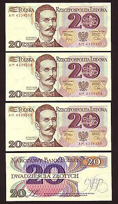 POLAND   20 Zlotych  1982 Series AM  4 consecutive  UNC