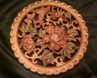 Circa 1980s 10 1/4 inch Carved Wood Wall Hanging Butterflies & Peonies flowers