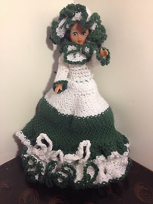 "15"" Plastic Doll ~ Made in China ~  Hand crocheted Dress/Hat/Boots/Undies"