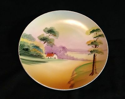 Nippon hand painted Antique Plate, Country Scene. House. Green Crown Stamp