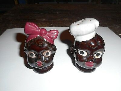 ** Vintage Black Americana Mammy & Chef Salt / Pepper Shakers Made in Japan **