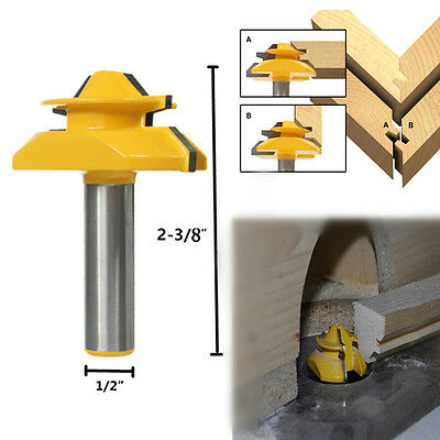 New 45° Lock Miter Router Bit 1/2'' Stock 1/2'' Shank Tenon Cutter Woodworking
