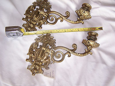Pair Reproduction Antique Solid Brass Candle Sconces Holders Sticks