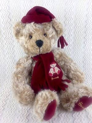 "Harrods Furry Tan Christmas Teddy Bear with Stocking Cap & Scarf 10"" Sitting"