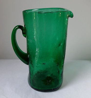 Vintage Green Crackle Glass Pinched Emerald Pitcher Hand Blown Applied Handle