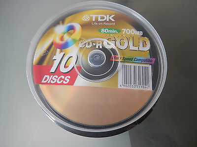10 Discs TDK 52x Gold CD-R 700MB 80Min with Sleeves
