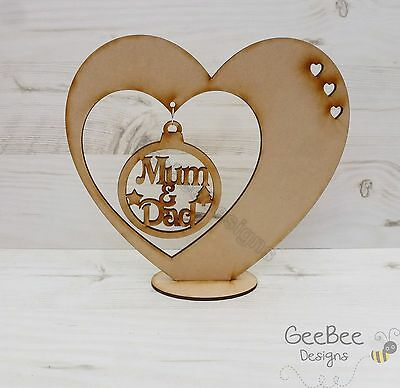 Baubles Wooden CHRISTMAS BAUBLE + HEART HANGER Free Standing xmas tree art MDF