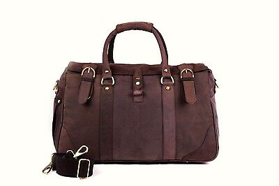 Large Vintage Real Leather Duffle Holdall Rugged Travel Mens Bag
