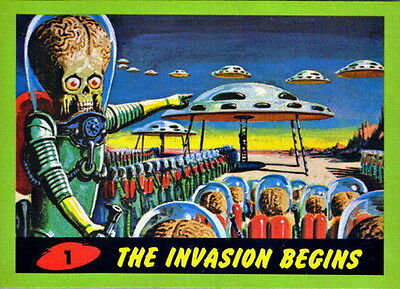2012 Topps Heritage MARS ATTACKS Vintage Style 55 Card Green Parallel Chase Set