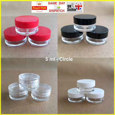 CIRCLE 5ml SCREW TOP, JAR POT CONTAINER LIP BALM CRAFT CREAM NAILS CHOICE OF QTY