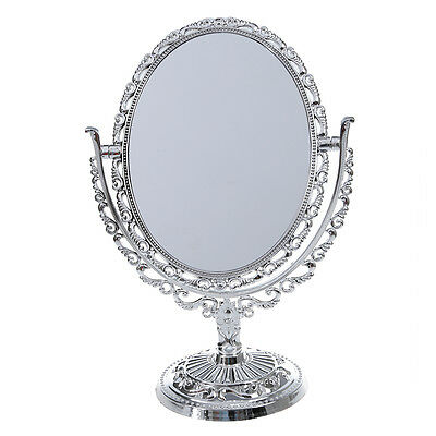 Silver Vanity Make Up Cosmetic Table Bathroom Mirror On Foot Stand S*