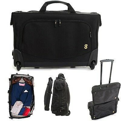GATE8 2-in-1 Tri-Fold Garment Mate Bag Plus Zip-Off Laptop Bag Black Internat...