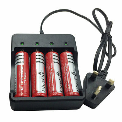 4X 18650 Batteries 6800mAh 3.7V Li-ion Rechargeable Battery with 4 Slots Charger