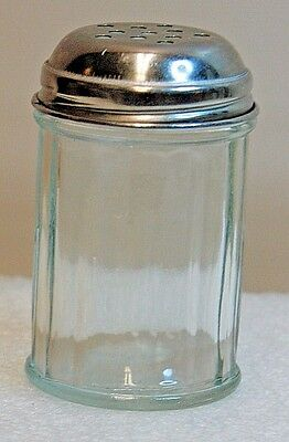 "Vintage Gemco Ribbed Clear Glass 3.5"" Cheese Shaker With Stainless Lid FREE SHIP"