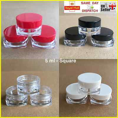 SQUARE 5ml SCREW TOP, JAR POT CONTAINER LIP BALM CRAFT CREAM NAILS CHOICE OF QTY