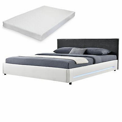 [My.Bed] LED Sommier tapissier + matelas 140x200cm cuir-synthétique grand lit