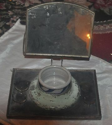 Vintage Antique Metal Shaving Stand with Mirror, Cup