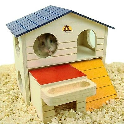 Emours Pet Small Animal Hideout Hamster House Deluxe Two Layers Wooden Hut Pl...