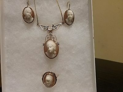Cameo Sardonyx Shell Earrings, Ring, Pendant set 14K yellow gold, RARE, 3200.00