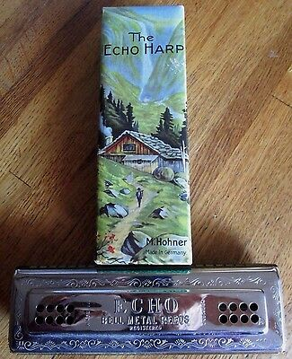 The ECHO HARP HARMONICA M.HOHNER Germany 96 Holes Keys-A D In Box Double-sided