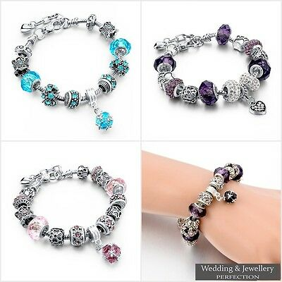 925 Silver Plated Crystal Charm Bracelet Rhinestone Charms Bangle Jewelry Gift