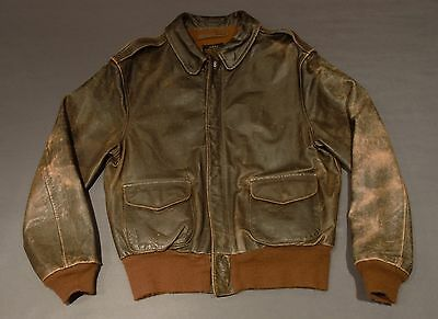 """VTG 70s Avirex A2 Bomber Jacket Made USA Handpainted Mickey """"See You Real Soon!"""""""