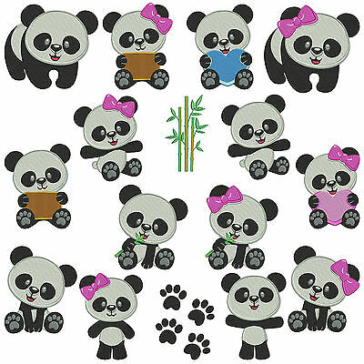 PANDA 1 * Machine Embroidery Patterns * 16 Designs in 2 sizes