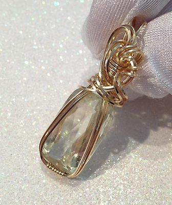 21.3ct Large Yellow Kunzite PENDANT 14k Yellow Gold gf Oval w/ necklace too
