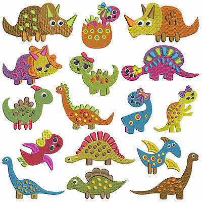 TINY DINOSAURS * Machine Embroidery Patterns * 16 designs x 2 sizes