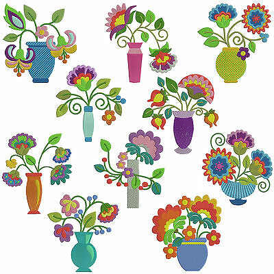 FLOWER VASES * Machine Embroidery Patterns  *10 Designs,2 Sizes