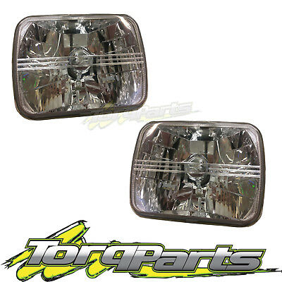 "Pair Headlights Suit Toyota Hilux 7""X5"" Semi Sealed Crystal Beam Lamps 1983-2005"