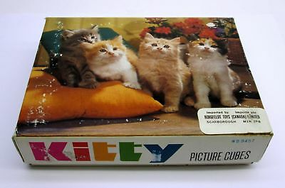 Vintage KITTY Cat Kitten PICTURE Puzzle CUBES wooden blocks Complete in Box